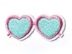 Heart-shaped sunglasses iron-on patch