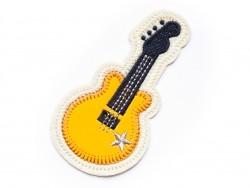 Ecusson thermocollant guitare en simili cuir