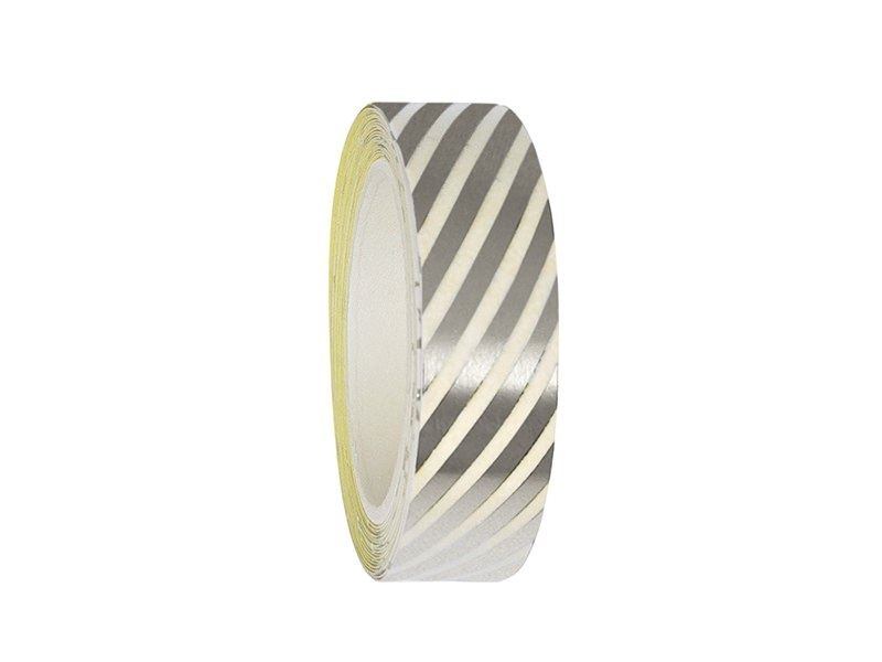 Tape with silver-coloured stripes