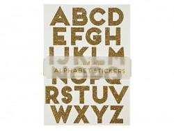 Stickers alphabet - paillettes dorées