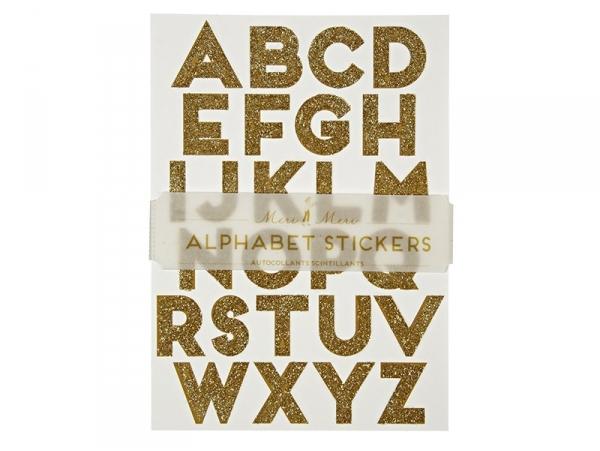 Letter stickers - gold-coloured glitter