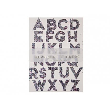 Stickers alphabet - paillettes multicolores