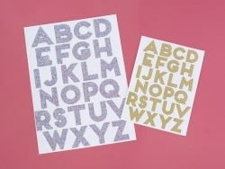 Stickers alphabet - paillettes multicolores