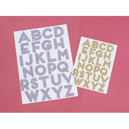 Letter stickers - colourful glitter