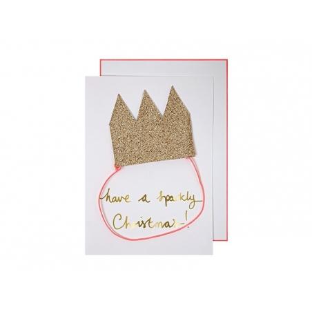 Carte à couronne pailletée Meri Meri - 1