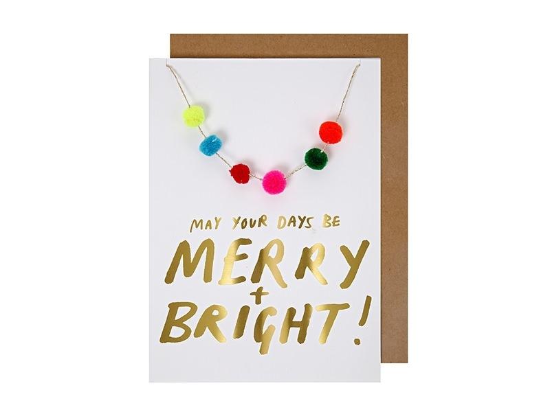 "Carte guirlande de pompons ""May your days be merry + bright !"" Meri Meri - 1"