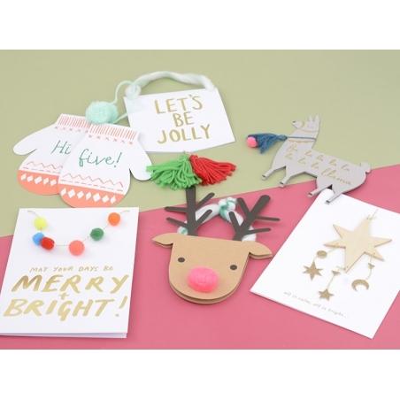 "Carte guirlande de pompons ""May your days be merry + bright !"" Meri Meri - 2"