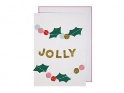 "Christmas garland card - ""Holly Jolly"""