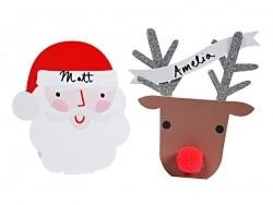 10 marque-places - Têtes de Père Noël et Renne Meri Meri - 1