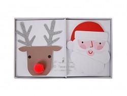 10 Platzkartenhalter - Weihnachtsmann und Rentier