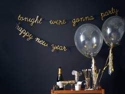 Party garland with a glitter message