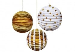 3 paper lanterns - gold-coloured