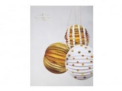 3 boules en papier - doré