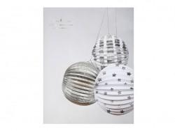 3 paper lanterns - silver-coloured