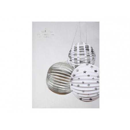 3 boules en papier - argenté Meri Meri - 2