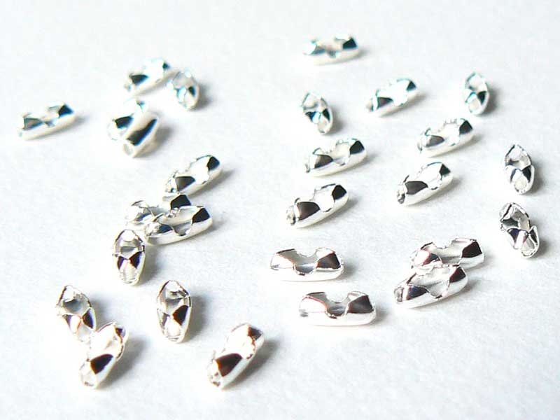 10 ball chain clasps  (1.5 mm) - light silver-coloured - Size S