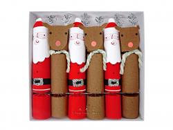 6 grands crackers - Père Noël et rennes