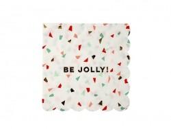"""Kleine Servietten mit Konfettimotiv - """"Be jolly"""""""