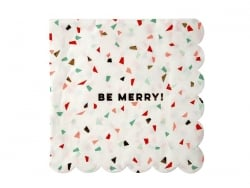 "Large confetti napkins - ""Be merry"""
