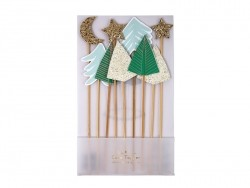 Set of 9 cupcake toppers - forest