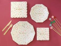 "Small confetti plates - ""Be merry"""