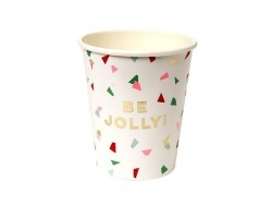 "Cups with a confetti print - ""Be jolly"""
