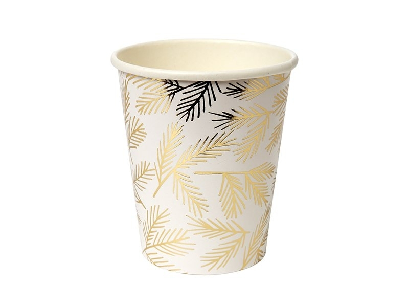 Cups with a gold-coloured branch print