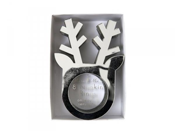Silver-coloured napkin rings - reindeer