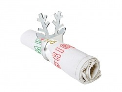 Silver-coloured napkin rings - reindeer