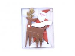 10 Platzkartenhalter - Rentier und Weihnachtsmann