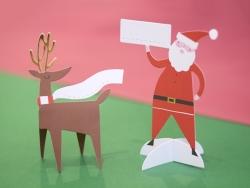 10 marque-places - renne et Père Noël