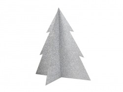 Table decoration - silver-coloured glitter Christmas tree (20 cm)