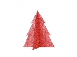 Table decoration - red glitter Christmas tree (15 cm)