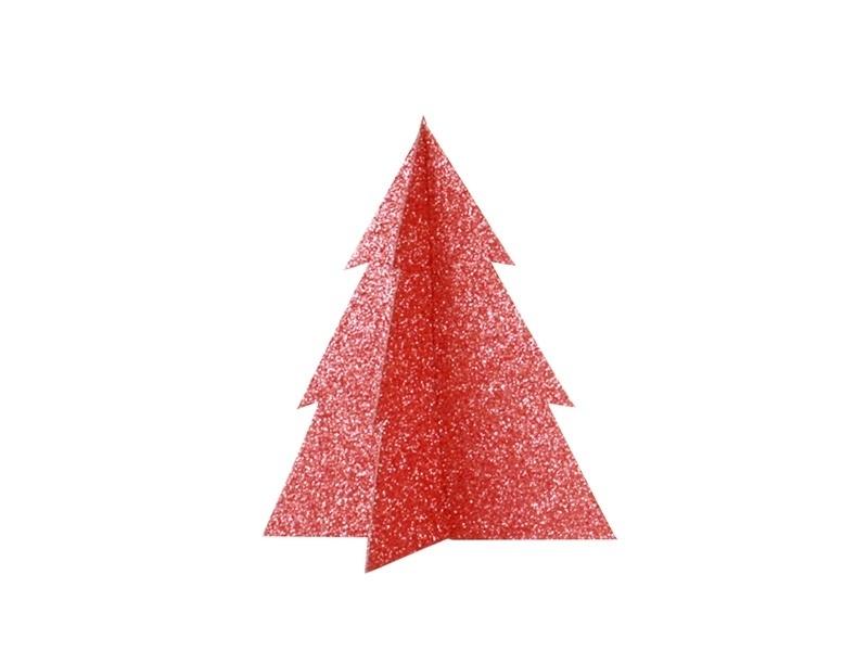 Décoration de table - sapin pailleté rouge 15 cm My little day - 1