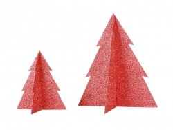 Tischdekoration - rot glitzernder Tannenbaum (15 cm)