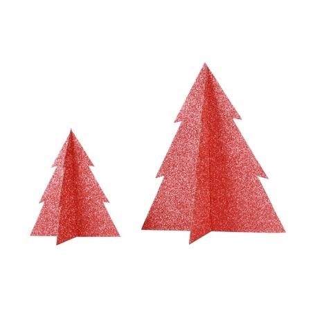 Décoration de table - sapin pailleté rouge 15 cm My little day - 2