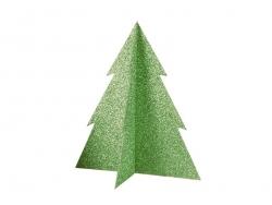 Tischdekoration - grün glitzernder Tannenbaum (20 cm)