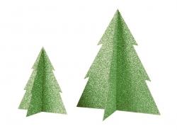 Décoration de table - sapin pailleté vert 20 cm