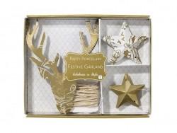 guirlande en papier doré - renne et étoiles