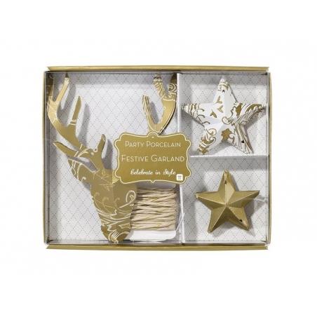 Acheter guirlande en papier doré - renne et étoiles - 8,50€ en ligne sur La Petite Epicerie - 100% Loisirs créatifs
