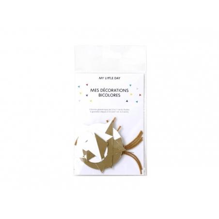 Décorations géométriques bicolores - blanc/doré My little day - 2