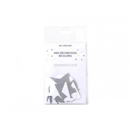 Acheter Décorations géométriques bicolores - blanc/argenté - 7,00€ en ligne sur La Petite Epicerie - 100% Loisirs créatifs
