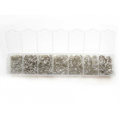 Box with jump rings in 7 sizes - dark silver-coloured