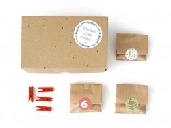 """Pack calendrier de l'avent """"kraft, rouge et vert"""""""