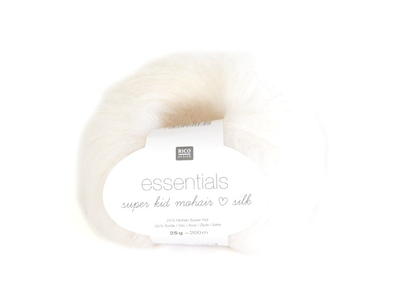 "Laine ""Essentials Super Kid Mohair Silk"" - blanc 001"