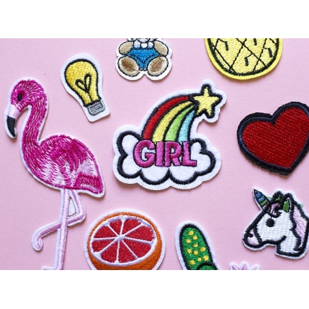 Patch thermocollant - flamand rose brodé