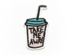 Ecusson thermocollant - boisson à emporter - Take me away