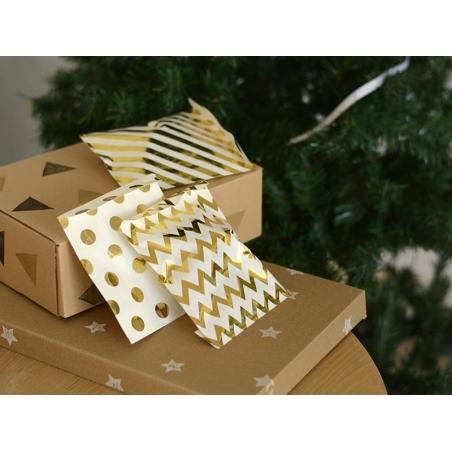 25 sachets cadeaux - chevrons dorés  - 2
