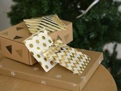25 sachets cadeaux - pois dorés