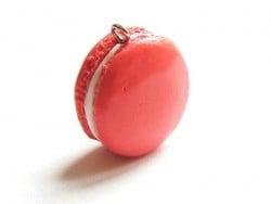 Pendentif macaron - Framboise  - 1